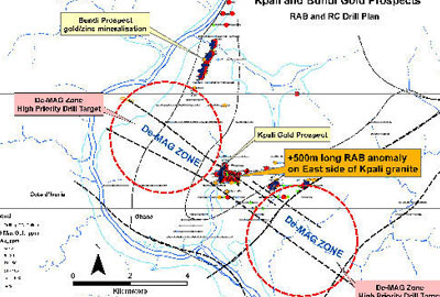 Prospect locations and RAB drilling